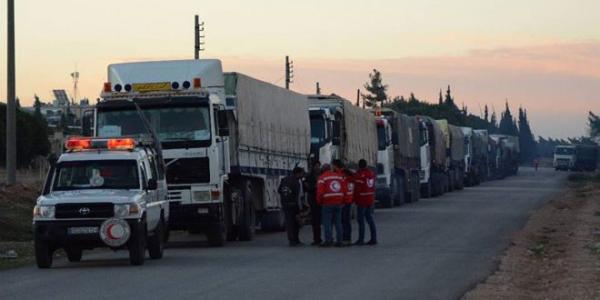 New humanitarian aid convoy arrives at al-Bukamal city
