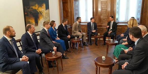 President al-Assad to Russian delegation: Tripartite aggression on Syria was accompanied by campaign of misdirection and lies at Security Council against Syria and Russia