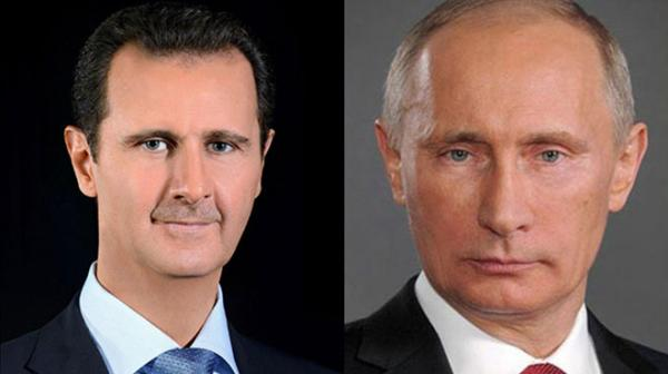 President al-Assad receives congratulatory cable from President Putin on occasion of Syria's National Day