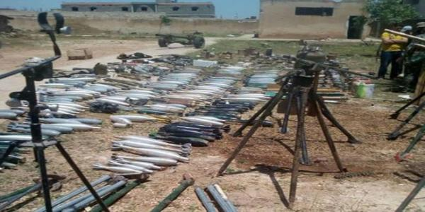 Weapons and mines uncovered inside terrorists' hideouts in kafar Laha town, Homs countryside