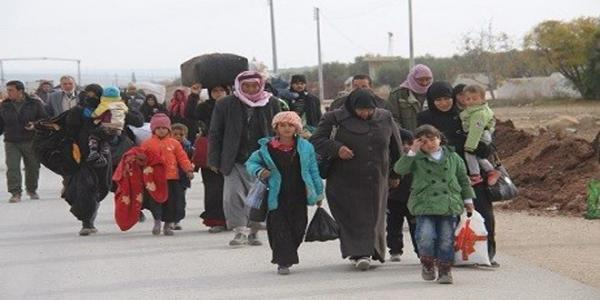 Thousands flee the Turkish aggression on Afrin city in northern Aleppo countryside